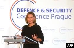 Верховний представник ЄС Федеріка Моґеріні на конференції з питань європейської оборони та безпеки в Празі