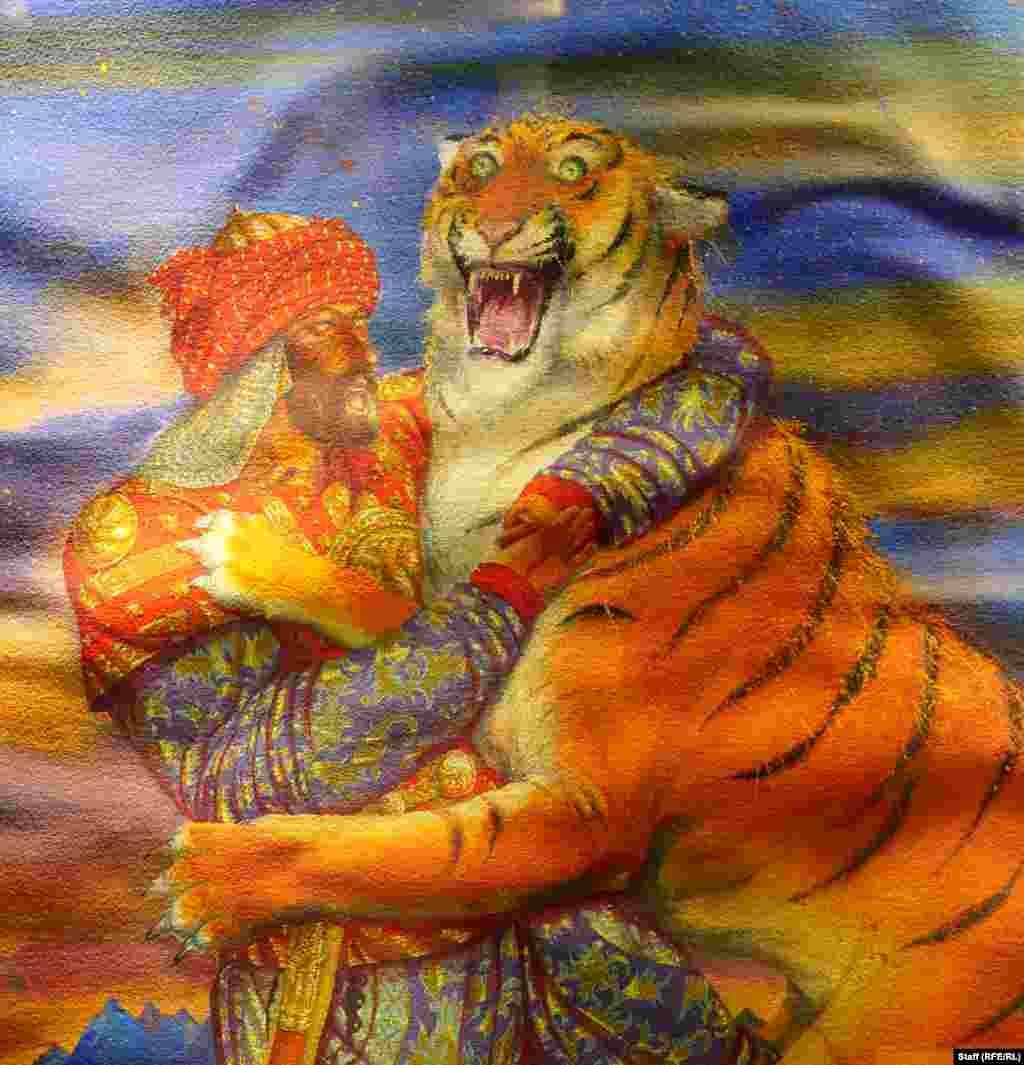 Детайл от битка с тигър.