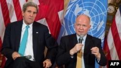 Держсекретар США Джон Керрі (ліворуч) і міністр закордонних справ Великої Британії Вільям Гейґ, Вашингтон, 25 лютого 2014 року