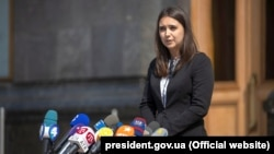 Ukrainian President Volodomyr Zelenskiy's press secretary Yulia Mendel (file photo)