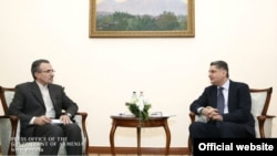 Armenia/Iran - Armenian Prime Minister Tigran Sarkisian (R) meets with Mohammad Reisi, Iran's Ambassador to Armenia, Yerevan,12Feb2014