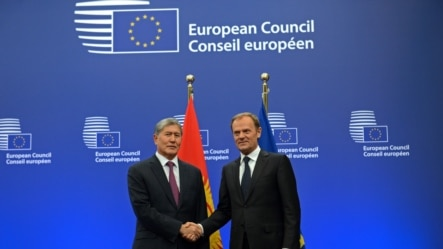 Президент Атамбаев и Председатель Евросовета Дональд Туск, Брюссель, 27 марта, 2015