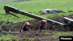 Nagorno-Karabakh - Armenian soldiers at an artillery position in southeastern Karabakh, 8Apr2016.