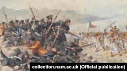 """Фрагмент картины """"Последний бой 44-го полка Восточного Эссекса в Гандамуке"""", 12 января 1842 года"""