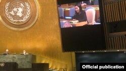 БУУдагы Кыргызстандын туруктуу өкүлү Миргүл Молдоисаева уюмдун жыйынында сөз сүйлөдү. 28-январь, 2021-жыл.