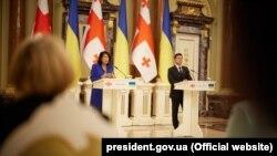 Президенти України та Грузії Володимир Зеленський та Саломе Зурабішвілі, Київ, 23 червня 2021 року