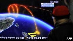 Телерепортаж о запуске ракет в Северной Корее. 2012 год.