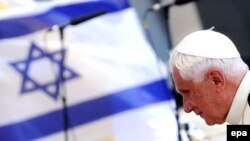 Pope Benedict upon his arrival at Tel Aviv's Ben Gurion International Airport.
