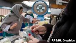 Продавец на рынке сельскохозяйственной продукции в Алматы.