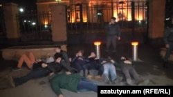Armenia - Youth activists protest outside the presidential palace, Yerevan,24Feb2016