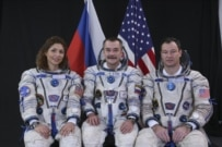 The crew of the mission that is scheduled for launch on September 18 posing in Kazakhstan on September 14 (courtesy photo)