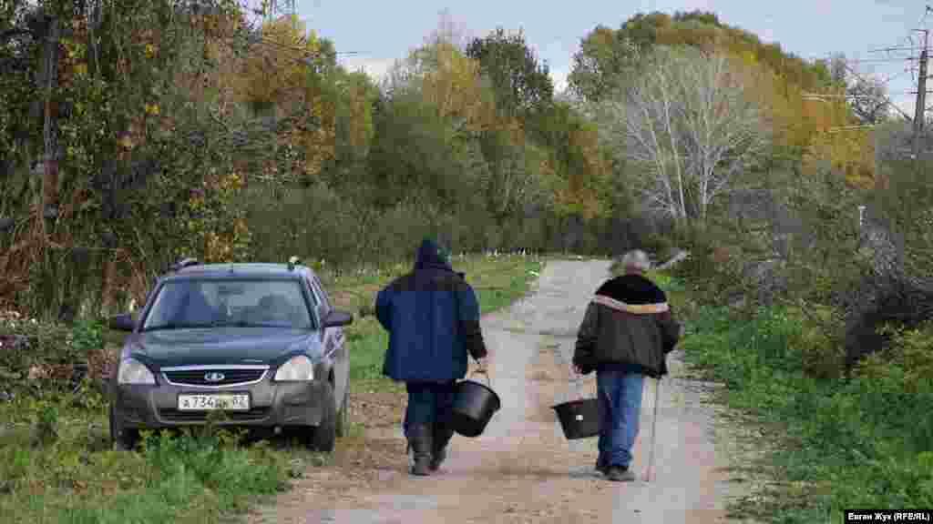 Грибники йдуть дорогою до лісу