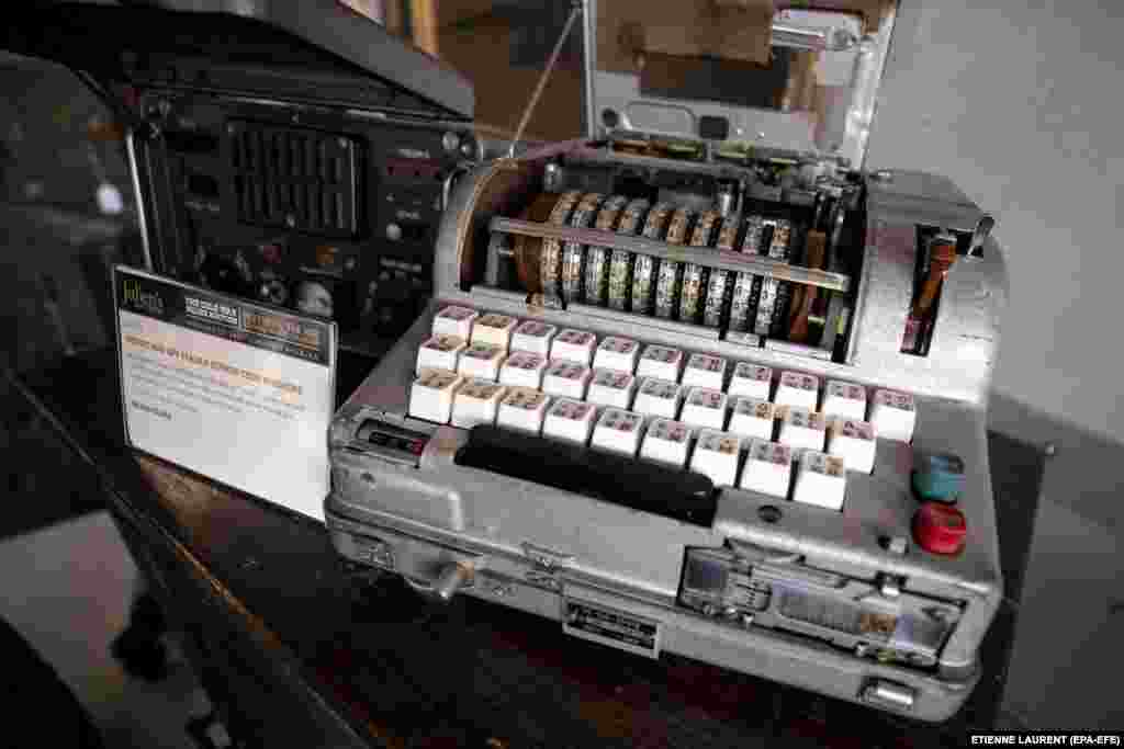 Устройство, известное как«Фиалка», которое использовалось для передачи секретных кодов. Оно считается советской версией машины Enigma, которую использовали в нацистской Германии.