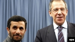 Iranian President Mahmud Ahmadinejad (left) and Russian Foreign Minister Sergei Lavrov (file photo)