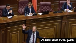 ARMENIA -- Armenian opposition leader and the only candidate for the post of prime minister Nikol Pashinian speaks during the extraordinary session of parliament to elect a new prime minister in Yerevan on May 1, 2018