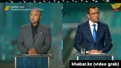 Азат Перуашев и Маулен Ашимбаев во время теледебатов. Нур-Султан, 29 мая 2019 года.