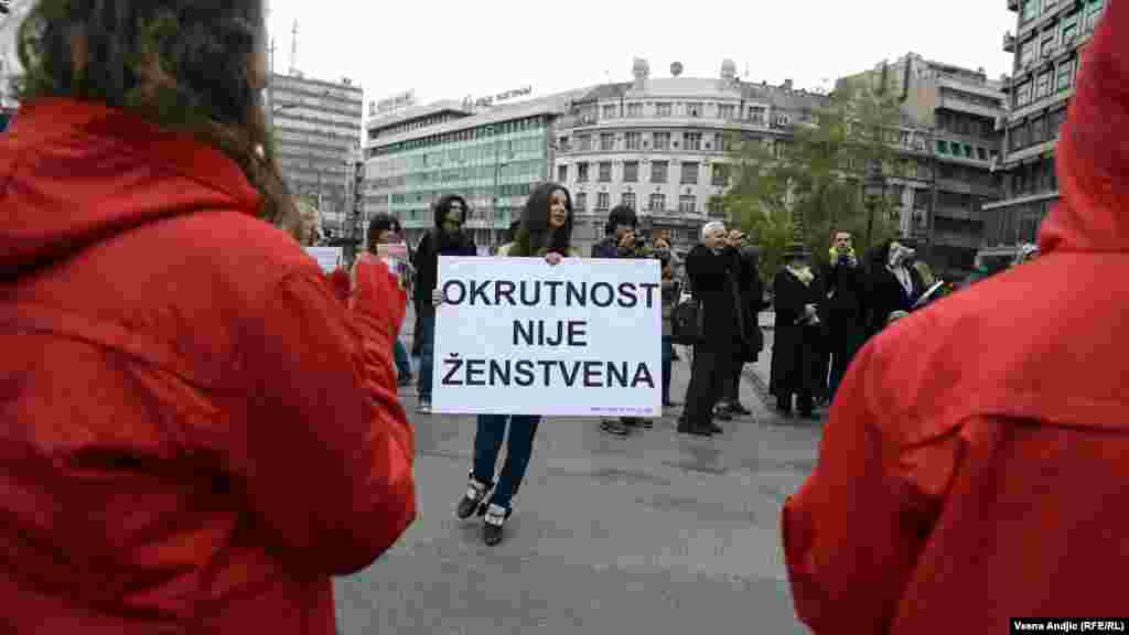 Serbia - Performance against the killing of animals, Belgrade, 23Nov 2012.