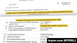 Компанія «ІнтерЛаб», дані реєстру