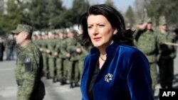 Kosovar President Atifete Jahjaga inspecting the Kosovo Security Force (KSF) during a ceremony in Pristina in March