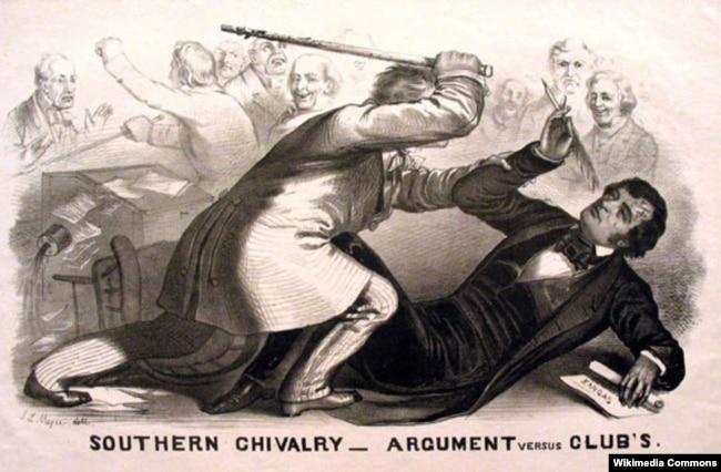 """""""Южное рыцарство: слова против дубины"""". Литография, изображающая избиение Самнера Бруксом. Неизвестный художник. 1856."""