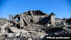 Armenia- A building damaged by recent shelling in Stepanakert, 17Oct2020