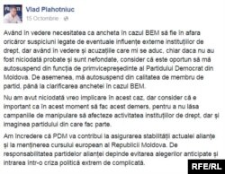Anunțul autosuspendării lui Vlad Plahotniuc din PD