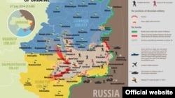 Украина шарқида 27 июлга қадар юзага келган вазият харитаси.