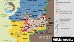 Карта антитеррористической операции на востоке Украины. 27 июля 2014 года.