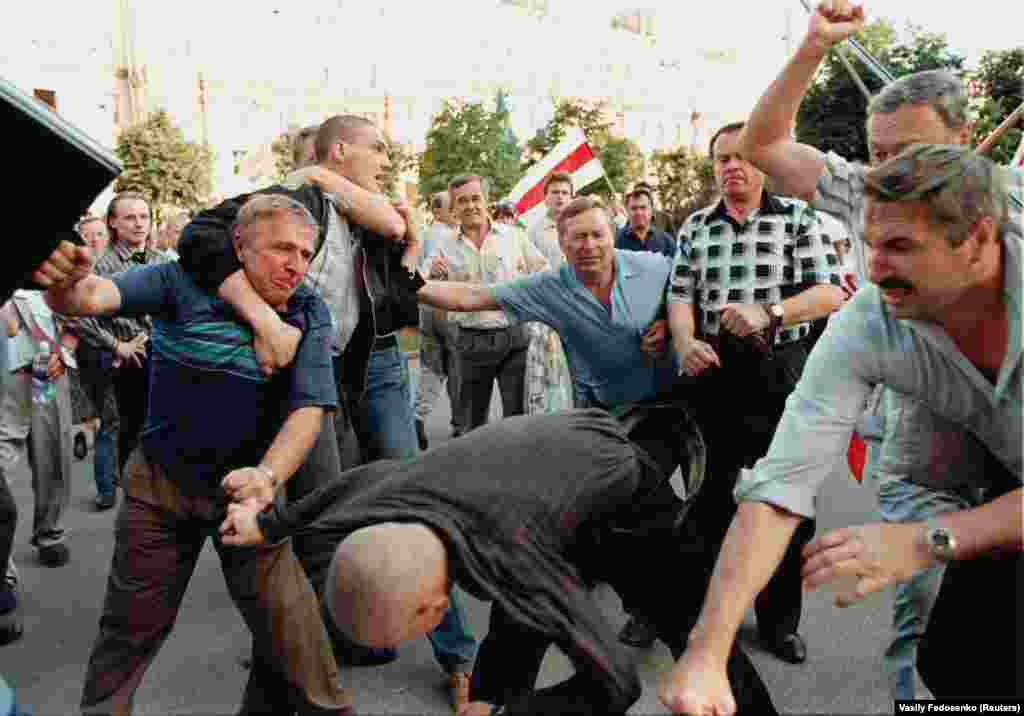 Emotions definitely ticked upward during this brawl between ultranationalists and opposition supporters in Minsk.