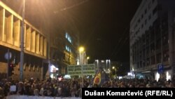Anti-government protests resumed in the Serbian capital of Belgrade on September 28.