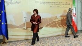 საიდ ჯალალი, ირანის წარმომადგენელი და კეტრინ ეშტონი, ევროკავშირის საგარეოპოლიტიკური ლიდერი.
