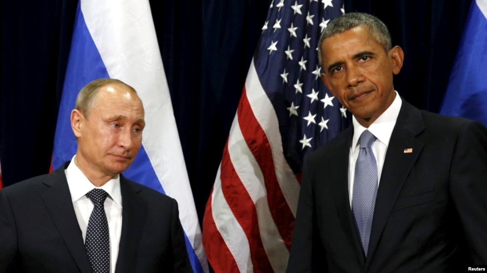 In 2015, U.S. President Barack Obama (right) issued a national-security strategy portraying Russia as a regional bully and a threat to global stability. Obama is seen here with his Russian counterpart, Vladimir Putin, in September 2015.