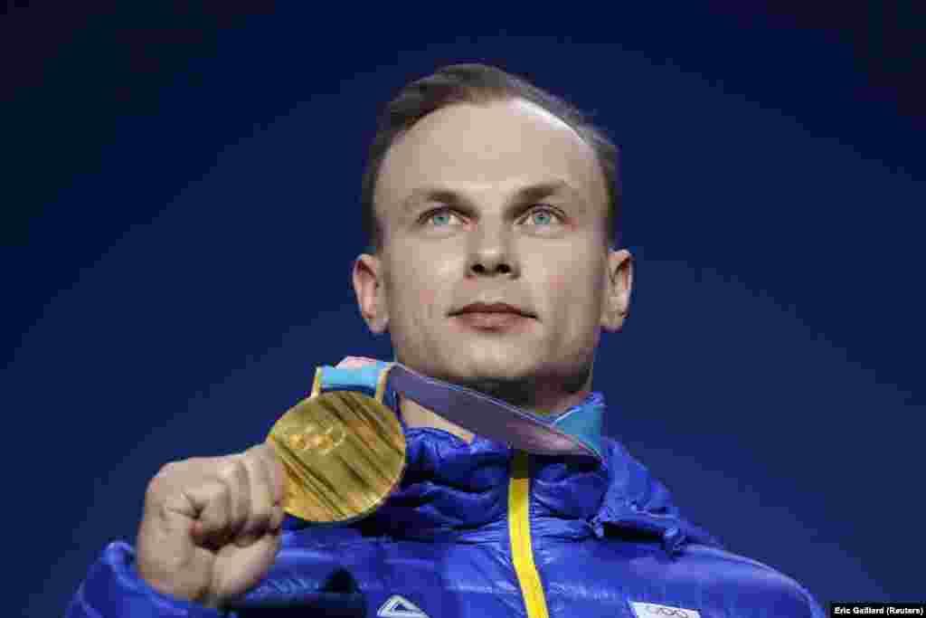Freestyle Skiing: Gold medalist Oleksandr Abramenko of Ukraine on the podium atMedals Plaza after winning Men's Aerials during thePyeongchang 2018 Winter Olympics, Pyeongchang, South Korea, February 19, 2018.