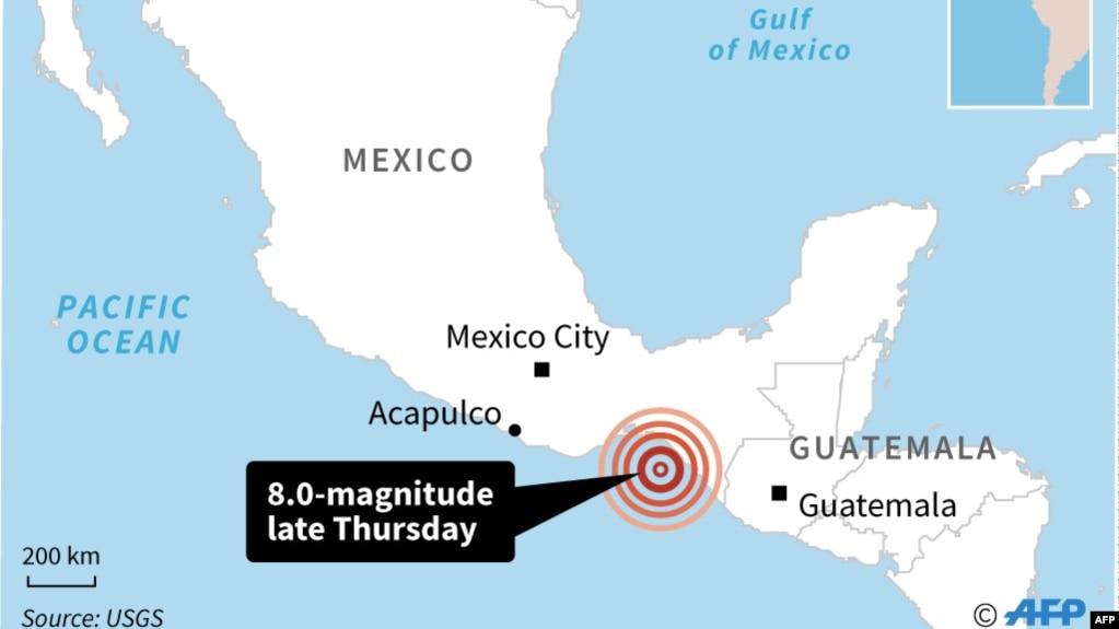 وقوع زلزله هشت ریشتری در سواحل جنوبی مکزیک
