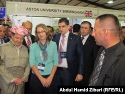 رئيس اقليم كردستان العراق مسعود بارزاني في جولة بمعرض أربيل الدولي