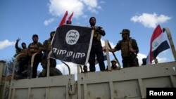 Shi'ite paramilitary fighters hold an Islamic State flag that they pulled down in Tikrit on March 31.