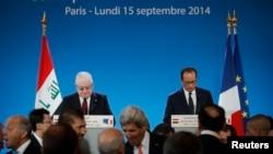 الرئيسان الفرنسي فرانسوا هولاند والعراقي فؤاد معصوم يفتتحان مؤتمر باريس - 15 أيلول 2014