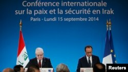 Sot, gjate konferencës ne Paris, Presidenti francez Francois Hollande (djathtas) dhe Presidenti irakian Fuad Masum (majtas)