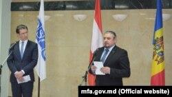La conferința de presă comună cu șeful diplomației moldovene, Andrei Galbur