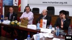 Прес-конференција на претседателите на стопанските комори на Македонија и на Косово, Бранко Азевски и Сафет Ѓерѓалиу во Скопје