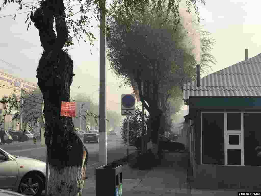 В Туркестане – крупный частный сектор. Большинство домов отапливаются углем.