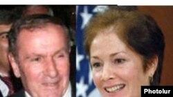 Первый президент Армении Левон Тер-Петросян и посол США в Армении Мари Йованович
