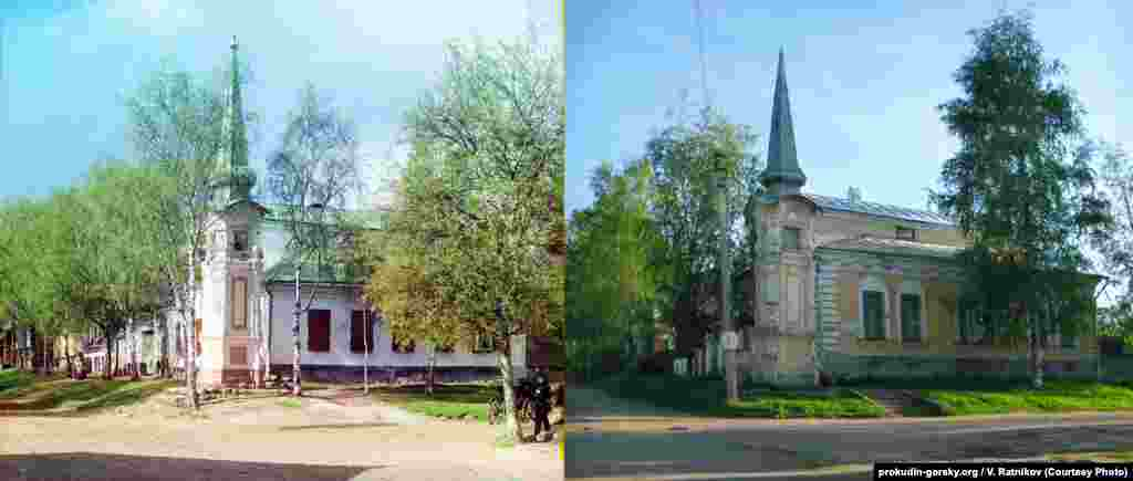 A street corner in Ostashkov, Russia. 1910/2010