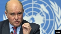Switzerland -- Russian Deputy Foreign Minister Grigory Karasin answers questions after a press conference after the ninth session of the Caucasus talks to settle the Russia-Georgia conflict at the European headquarters of the UN in Geneva,