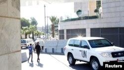 Автомобиль инспекторов ООН по химическому оружию. Дамаск, 8 октября 2013 года. Иллюстративное фото.