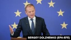 Дональд Туск на пресс-конференции в Киеве, 8 июля 2019 г.