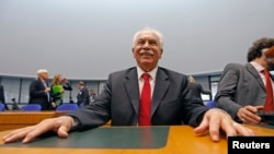 Dogu Perincek, Chairman of the Turkish Workers' Party, waits for the start of an hearing at the European court of Human Rights for the judgment in his case in Strasbourg, France, October 15, 2015