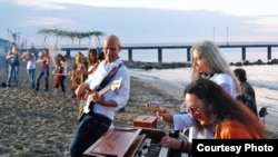 "Ken Hensley plays ''July Morning"" with Bulgarian musicians on the Black Sea coast on July 1, 2009."