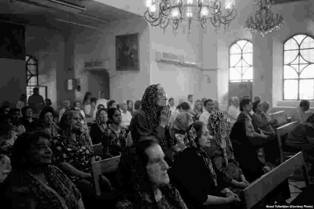 Church services in prewar Syria, at the Surp Sarkis Armenian Apostolic Church in the capital, Damascus. The church continues to serve as the main gathering point for the city's remaining Armenians.