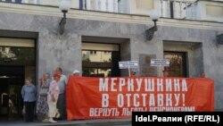 Ольга Денисовна на пикете у Губернской Думы